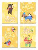 Hello Winter Merry Christmas 60s Theme Postcard. With bear and horse dressed in knitted sweater. Vector illustration with animals in warm clothes Vector Illustration