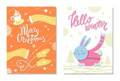 Hello Winter Postcard with Rabbit Scarf Mittens Stock Photos