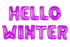 Hello winter, purple color royalty free stock image