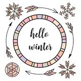 Hello winter. Retro vintage typographic color design elements. Arrows, Fir, christmas tree, mittens, ski, holly royalty free illustration