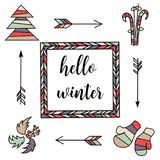 Hello winter. Retro vintage typographic color design elements. Arrows, Fir, christmas tree, mittens, ski, holly. Hello winter. Square badge set of Retro color Stock Images