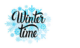 Hello Winter Season Text Banner Abstract White Background. Background Flat Vector Illustration Stock Photography