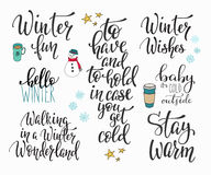 Hello Winter season typography set Stock Photos