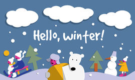 Hello winter snow sign flat card. Royalty Free Stock Image