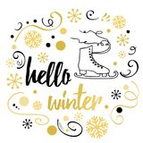 Hello Winter text. Winter background with hand drawn skate, snowflakes in modern golden colors Royalty Free Stock Image