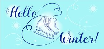 Hello winter text. Brush lettering at blue background with figure skates and snowflakes on ice rink. vector illustration