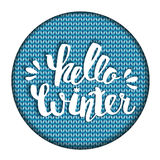 Hello winter text. Brush lettering Hello Winter. card design with custom calligraphy. Winter season cards, greetings for social me Royalty Free Stock Images