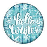 Hello winter text. Brush lettering Hello Winter. card design with custom calligraphy. Winter season cards, greetings for social me Stock Images