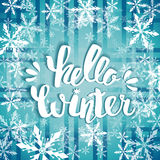 Hello winter text. Brush lettering Hello Winter. card design with custom calligraphy. Winter season cards, greetings for social me Royalty Free Stock Image