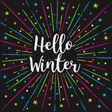 Hello Winter Text Color Sunburst.Vector Lettering Card  Stock Photos