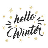 Hello winter text and golden snowflakes. Vector card design with custom calligraphy. stock illustration