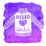 Hello winter text and knitted wool pullover with a heart. Seasonal shopping concept design for the banner or label. Royalty Free Stock Photo