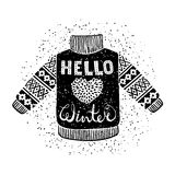 Hello winter text and knitted wool pullover with a heart. Seasonal shopping concept design for the banner or label. Stock Photography