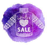Hello winter text and knitted wool pullover with a heart on watercolor background. Seasonal shopping concept design for Royalty Free Stock Photos