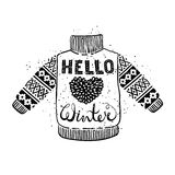Hello winter text and knitted wool sweater with a heart. Seasonal shopping concept design for the banner or label. Royalty Free Stock Photo