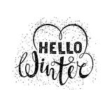 Hello winter text lettering with heart element. Seasonal shopping concept to design banners, price or label. Vector illustration Stock Photos