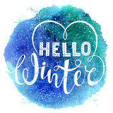 Hello winter text lettering with heart element on watercolor background. Seasonal shopping concept to design banners. Price or label. Isolated vector Royalty Free Stock Photos