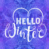 Hello winter text lettering with heart element on watercolor background. Seasonal shopping concept to design banners. Price or label.  vector illustration Stock Image
