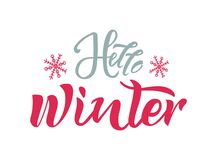 Hello winter text with snowflakes on background. Calligraphy, lettering design. Typography for greeting cards, posters, banners. vector illustration