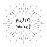 Hello winter text with sun rays linear background. Vector card design with custom calligraphy Royalty Free Stock Image