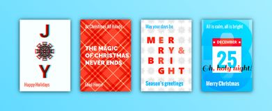 Merry Christmas Holiday greeting cards set Stock Photography