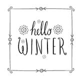 Hello winter text. Vector Brush lettering. Card design with custom calligraphy. Season cards, greetings for social media Royalty Free Stock Images