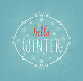 Hello winter text. Vector Brush lettering. Card design with custom calligraphy. Season cards, greetings for social media Royalty Free Stock Image