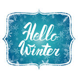Hello winter text. Vector Brush lettering Hello Winter. Vector card design with custom calligraphy. Winter season cards, greetings Stock Photo
