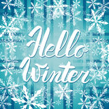 Hello winter text. Vector Brush lettering Hello Winter. Vector card design with custom calligraphy. Winter season cards, greetings Stock Photography