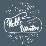 Hello winter text. Vector Brush lettering Hello Winter. Vector card design with custom calligraphy. Winter season cards, greetings Stock Image