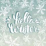 Hello winter text. Vector Brush lettering Hello Winter. Vector card design with custom calligraphy. Winter season cards, greetings Royalty Free Stock Images