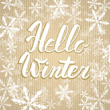 Hello winter text. Vector Brush lettering Hello Winter. Vector card design with custom calligraphy. Winter season cards, greetings Stock Photos