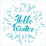 Hello winter text. Vector Brush lettering Hello Winter. Vector card design with custom calligraphy. Winter season cards, greetings Royalty Free Stock Photography