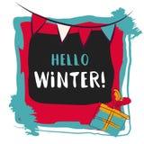 Hello winter text. Vector card design with custom calligraphy Stock Photo