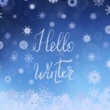 Hello Winter Typographic Poster Royalty Free Stock Photography