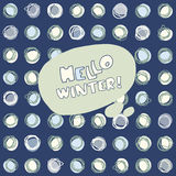 Hello Winter vector hand drawn greeting card on seamless background with snowballs. On a dark background Royalty Free Stock Images