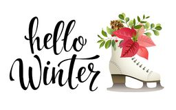 Hello winter. Vector illustration. Lettering. Calligraphy. Hello winter black written inscription with ice skate on Royalty Free Stock Image