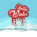 Hello Winter White Snow Background Vector Image Stock Image