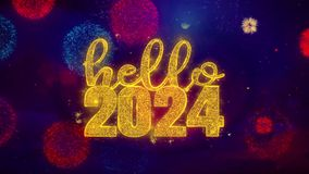 Hello 2024 wish Text on Colorful Ftirework Explosion Particles.