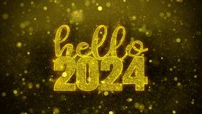 Hello 2024 Wish Text on Golden Glitter Shine Particles Animation.