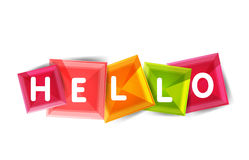 Hello word button banner or squares Royalty Free Stock Photos