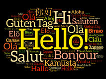 Hello word cloud collage in different languages Royalty Free Stock Photography