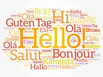 Hello word cloud in different languages Stock Images
