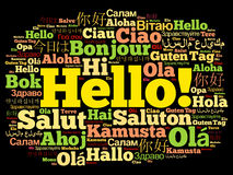 Hello word cloud in different languages Royalty Free Stock Image