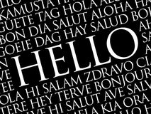 Hello word cloud in different languages Royalty Free Stock Photos