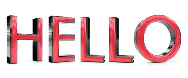 Hello word. The hello word 3d rendered red and gray metallic color , isolated on white background Royalty Free Stock Photos