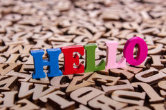 Hello word made of wooden letters Stock Images