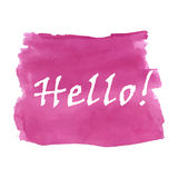 Hello word watercolor. Hello word on the magenta watercolor background Stock Photo