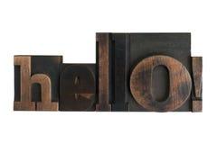 Hello!, word written in letterpress type blocks Stock Photos