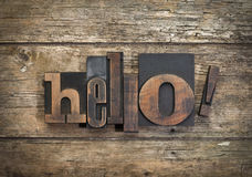 Hello, word written with vintage letterpress printing block Stock Images